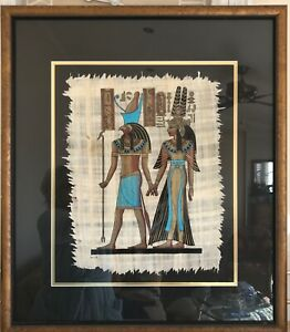 HAND PAINTED EGYPTIAN PAPYRUS ART PRINT - BEAUTIFULLY FRAMED