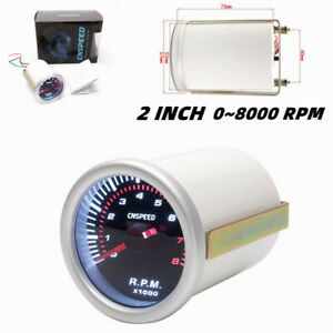 "12V 2"" 52MM Car Modified Tachometer Gauge Tacho Meter White Light 0~8000 RPM"