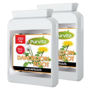 Dandelion 250mg Whole Root Herbal 120 Capsules Liver Detox Water Retention Skin