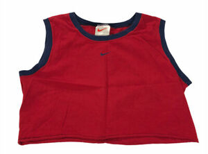 Vintage Nike Center Swoosh Activewear Cropped Tank Top Size Large Red Blue USA