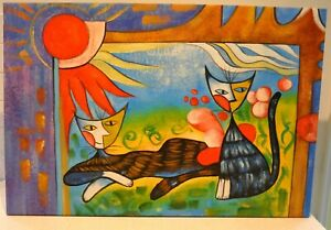 Brightly Coloured Painting On Stretched Canvas, Of 2 X Cool Cats In The Sun.