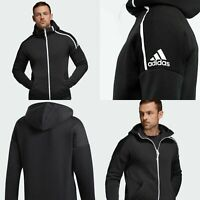 ADIDAS MENS ZNE Training Sweatshirt Hoodie Black  Jacket Track Top Size XXL