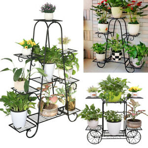 6-9 Tiered Strong Metal Flower Rack Pot Plant Stand Indoor Garden Yard Decor New