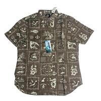 Reyn Spooner Mens Hawaiian Shirt Size XL Stories Frm East Tailored Fit Mocha New