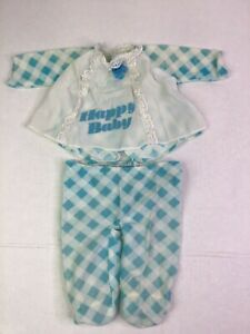 """Vintage HAPPY BABY Pajamas Blue Gingham Clothes Fits 16""""-18"""" Doll"""