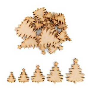 Classic Christmas tree MDF Craft Shapes Wooden Gift Tags Decor Embellishment art