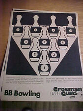 "FT4 Vintage RARE Crosman Air guns target Coleman co. BB Bowling 8.5"" x 11"""