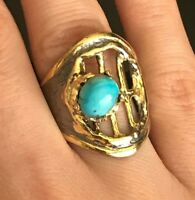 Turkish Turquoise Sterling Silver 925K Bronz Ring Size 7 8 9