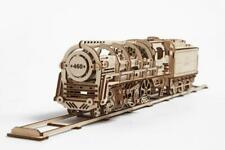 UGEARS Steam Locomotive with tender - Mechanical Wooden Train Model Kit 70012