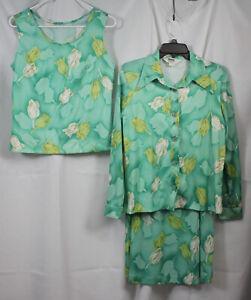 Vtg Montgomery Ward Outfit 3pc Shirt Shirt Tank Mod Retro Polyester Tulips 16