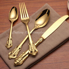 24 Pieces Stainless Steel 18/10 Gold Dinnerware Set 18th Century Replica Cutlery