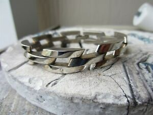 "Vintage TAXCO Mexico STERLING SILVER Heavy Chunky Chain Link 7.5"" BRACELET 50g"