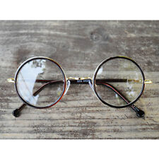 Nerd Brille filigran rund Glasses Klarglas Hornbrille treber 33R2 Brown Kpop