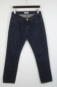 ACNE ROC NEW RAW Men's W33 L30 Dark Blue Button Fly Jeans 22175-JS