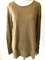 Massimo Dutti Linen Sweater Long-Sleeve Pullover Beige Stripe Knit - Size Large