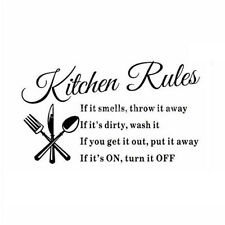 Kitchen Rules Restaurant Wall Sticker Decal Mural DIY Home Decor Art Quote H0A4