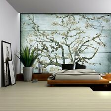 Almond Blossom Painting on a Blue Wood Textured Background - Wall Mural- 100x144