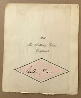 ANTHONY  EDEN Genuine Handsigned Signature attached to Album Page.