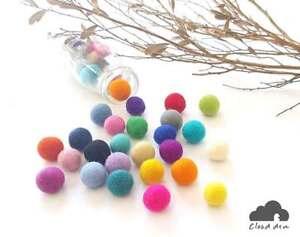 2.5cm MULTI COLOURS Felt Balls 150.Wool Mix Assorted Pom poms Wholesale