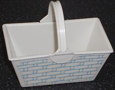 Vintage Barbie/Sindy White & Blue Plastic Shopping Basket With Fixed Handle