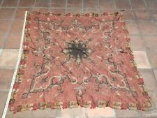 Very Rare Antique Paisley Square handmade fabric/pray cloth - 5x5 ft - As Is
