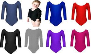 Girls Uniform Leotard Dance Gymnastic Ballet Long Sleeve Leotards Kids Age 3-13