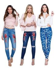 New Ladies Women Embroidered Floral Patch Detail Knee Rip Skinny Jeans Jeggings