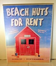 Beach Surf Kids Room Decor Beach Huts For Rent Wood Sign Wall Hanging 16X20
