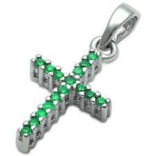 Green Emerald Cross .925 Sterling Silver Pendant