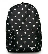 New LOUNGEFLY School Bag SKULL BONE Backpack Black Punk POLKA DOTS White Nylon