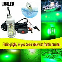 108 LEDs Green Underwater Submersible Fishing Light Night Crappie Squid Lamp USA