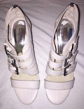 BRAND NEW Michael Kors 'Sonoma' High Heel White Leather Sandals. Size 8