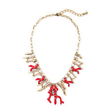Necklace Golden Chain Branch Coral Enamel Red Class Vintage Retro CSO 3