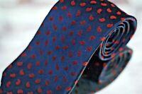 Ermenegildo Zegna Men's Tie Navy Red Paisley Satin Woven Silk Necktie
