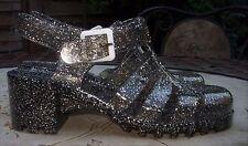 TRUFFLE Black Silver Glitter Mid Block Heel Jelly Style Beach Shoes Size 5