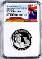 2017 Australia HIGH RELIEF 1oz Silver Kookaburra $1 Coin NGC PF70 +OGP NewLabel