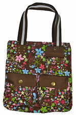 Split SWEET SPRING TOTE Bright Brown Green Pink Floral Print Magnetic Snap Purse