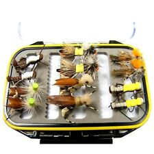 Trout Fly Fishing Gift Set: Shirt Pocket Fly Box 12 Foam GrassHopper Trout Flies