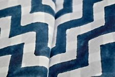 Stripe White With Blue Print Fabric Natural Indian Hand Block Cotton 5 Yard