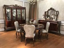 E70 round Dining Table+8 Chairs Chair Dining Room Complete Set Baroque Rococo