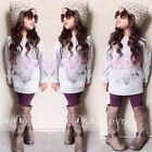 2PCS Baby Girls fashion Long sleeve tops + purple tights Kids Clothes Outfits