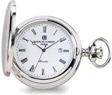 Charles Hubert Stainless Hunter Case w/ Shield White Dial Pocket Watch