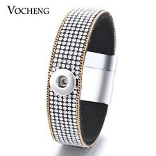 10PCS/Lot Vocheng Magnet Black Soft Fabric 12mm Snap Charm Bracelet NN-414*10
