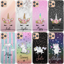 Unicorn Initial Phone Case, Personalised Pink Flower Hard Cover For Samsung J