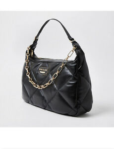 River Island Quilted Shoulder Bag - Black pu leather   new WITH TAGS
