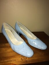 SELBY light blue leather heel pump shoes- size 9.5