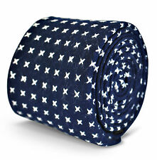 Frederick Thomas mens cotton linen tie in navy blue with cross pattern FT3128