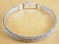 "New 925 Sterling Silver Foxtail Franco Wheat Bracelet Bali Tulang Naga 7.5"" 31g"