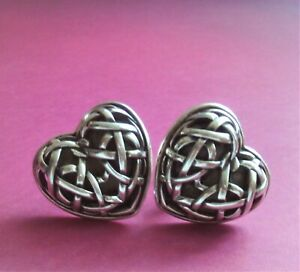 BARRY KIESELSTEIN CORD STERLING SILVER WOVEN HEART OMEGA CLIP WITH POST EARRING