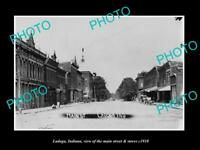 OLD LARGE HISTORIC PHOTO OF LADOGA INDIANA, THE MAIN STREET & STORES c1910